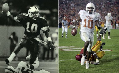 Terrence Jones (left) played for Mack Brown at Tulane roughly 20 years before Vince Young (right) played for the same coach while at Texas in the 2000s. (Photos by NOLA.com | The Times-Picayune, Associated Press)