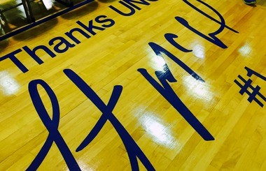 UNO star Bo McCalebb's signature on the baseline of one of the practice courts inside the Lakefront Arena.