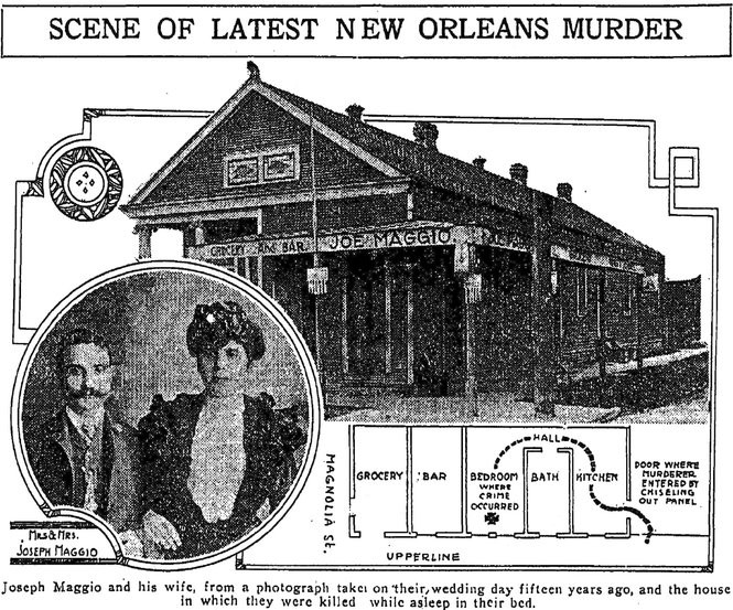 A photo graphic from The Times-Picayune, as published in May 1918, showing the scene of one of the Axman's attacks. (Image via The Times-Picayune archive)
