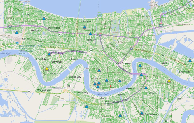 The triangles represent power outages as of 10 a.m. Friday (Aug. 12) in the metro area. (Image via Entergy)