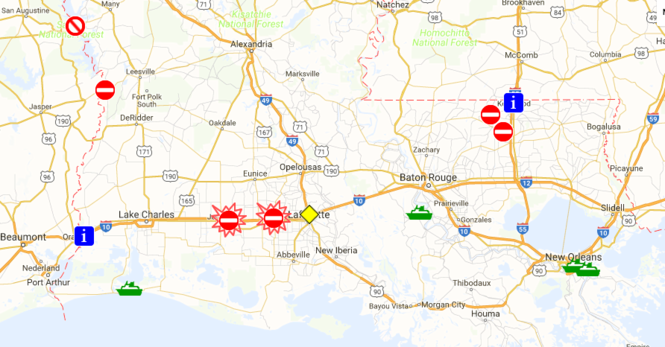 The red symbols represent road closures in this DOTD map, current as of 7:20 a.m. Wednesday (Aug. 17). (screenshot via 511la.org)