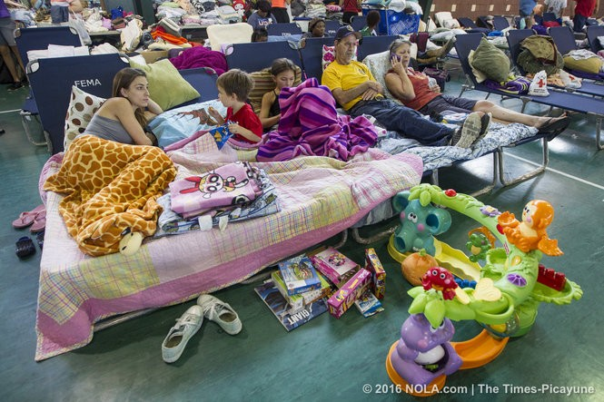 Displaced by flooding Baton Rouge residents take shelter at the Lamar-Dixon Expo Center Gonzales on Monday, August 15, 2016. (Photo by Chris Granger, Nola.com | The Times-Picayune)