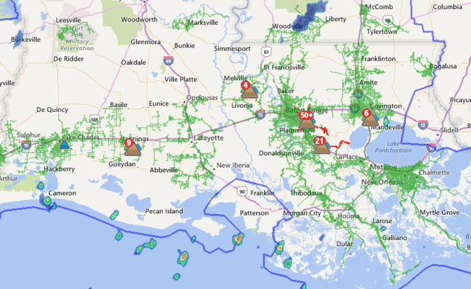 About 6,350 customers were without power Friday morning (Aug. 19) in Louisiana, according to Entergy. The outage figures were accurate as of 7:45 a.m. (Image via Entergy)