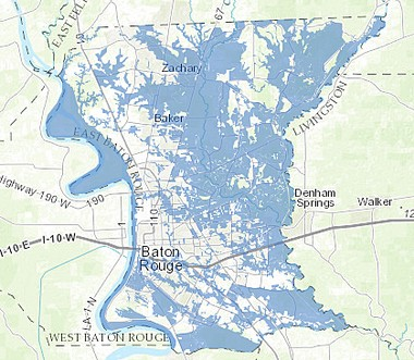 A flood map developed by the Baton Rouge City-Parish GIS Division of the Department of Information Services