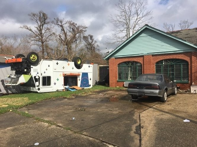 Gwendolyn Wallace's food truck, Huck-A-Buck Lady, skipped over her Chevrolet Beretta as the tornado flung it across the driveway of her home on Laine Avenue near Chef Menteur Highway.