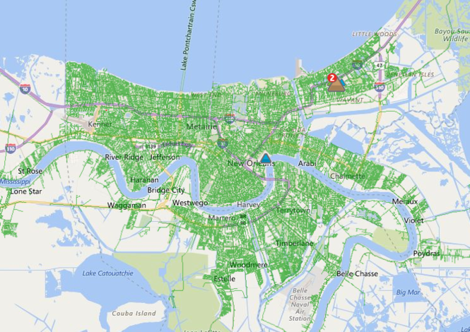 Entergy had largely restored power to the metro area as of Monday morning (August 7). (Image via Entergy)