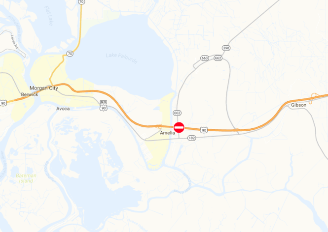 U.S. 90 was closed in both directions at the Amelia overpass, east of Morgan City.