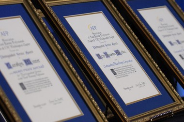 The AFP Top Philanthropists Awards. Each special award is finished in hand-written calligraphy.