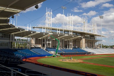 Final touches are put on at the new Hillsboro Hops baseball park, part of the Gordon Faber Recreation Complex.