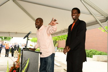 Gary Payton (left) and AC Green spoke to the crowd Tuesday afternoon at the opening ceremony of the basketball practice facility.