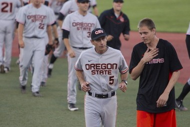 Pat Casey and son Jonathan after Oregon State's 3-2 win over UC Santa Barbara in the Corvallis Regional. Believe it or not, Jonathan is even more competitive than his dad.
