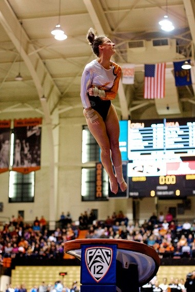 An All-American on vault, Kelsi Blalock says the OSU gymanstics team can learn a few things from the OSU baseball team.