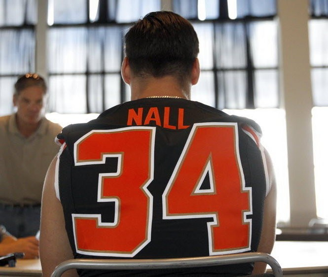 "Upon his arrival at Oregon State football media day in August, Nall was perhaps the most sought-after interview on the team. ""To be where I am now,"" he said, ""it's crazy but it's cool."""