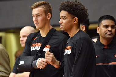 Tres Tinkle (left) and Stephen Thompson Jr. have not played in a game together since Nov. 11.