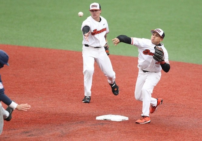 Nick Madrigal (right) is Oregon State's primary shortstop but has also started multiple games at second base.