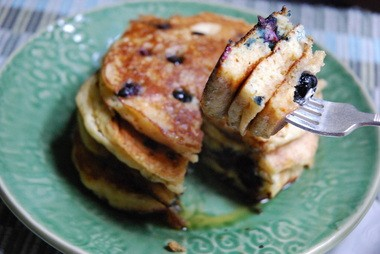 These buttermilk blueberry pancakes use baking soda to make sure they get tall and fluffy.