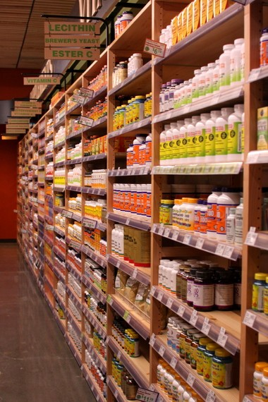 The store offers a sizable selection of vitamins and supplements. Store manager Krysti Weddle estimated that vitamins make up about a third of the store's inventory.