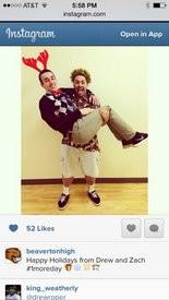 Beaverton High School Instagram photo taken by the Social Media Team just before winter break. Sophomores Drew Roper, being held, and Zach Salu ham it up for the snapshot