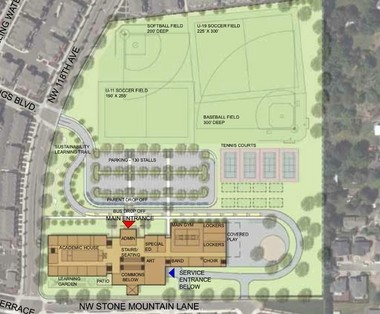 A very preliminary site drawing of the middle school in Cedar Mill. The site is 16 acres.
