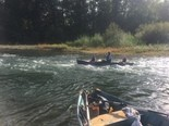 Jeff Knapp of Oregon City took his daughters Valkyrie, 7, and Skylar, 6, along on last weekend's cleanup of the Clackamas River, where the girls scoured like troopers to fill their small craft with trash.