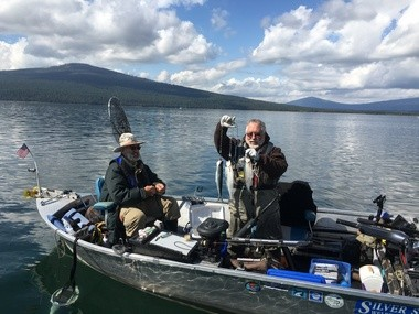 Nathan Bohlmann of Hillsboro, right, and Robert Fisher of Portland landed three nice kokanee salmon on an otherwise slow day for most at Wickiup Reservoir, south of Bend.
