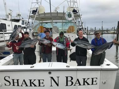 The first sport-caught tuna were landed off the mouth of the Columbia River Monday by a charter out of Ilwaco, Wash.