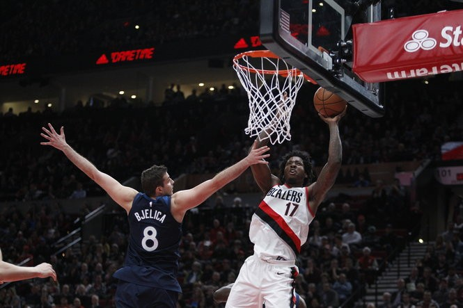 Ed Davis is averaging 5.6 points and 7.0 rebounds in 18.6 minutes per game this season for the Blazers. (Photo by Sean Meagher/Staff)