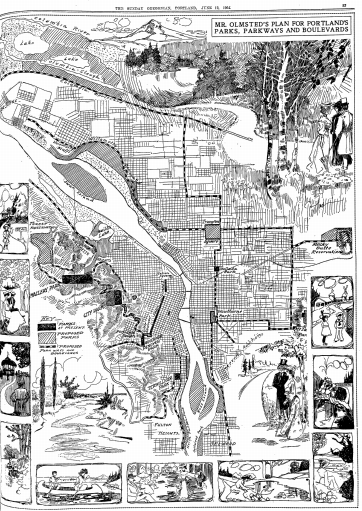 A depiction of Olmsted's plan for Portland's parks from the June 12, 1904 Oregonian.