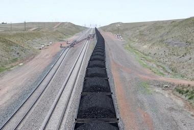 A coal train leaving Wyoming's Powder River Basin.