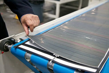 SoloPower's thin-film photovoltaic solar panels at its Portland grand opening in September.