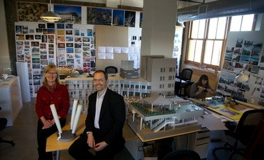 Michelle LaFoe and Isaac Campbell, the husband and wife architect team who founded Office 52. The firm, begun in 2010, won a major national project to build a new science building at Carnegie Mellon University.