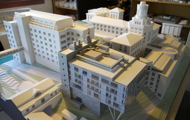 A model rendering of the campus at Carnegie Mellon University in Pittsburgh. Office 52 won the bid to create a $65 million science building -- pictured, in the forefront -- called Scott Hall. The young firm beat 16 others across the county, many of them much more experienced than Office 52.