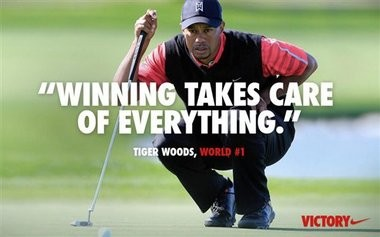 """Nike is causing a social media storm with its latest online ad, seen here, showing a picture of Tiger Woods overlaid with a quote from him, """"Winning takes care of everything."""""""