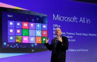 Microsoft CEO Steve Ballmer gives his presentation at the launch of Microsoft Windows 8, in New York, in this Oct. 25, 2012 file photo.