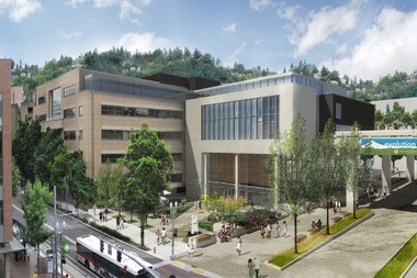 An architect's rendering shows a prospective addition to Portland State University's School of Business Administration.