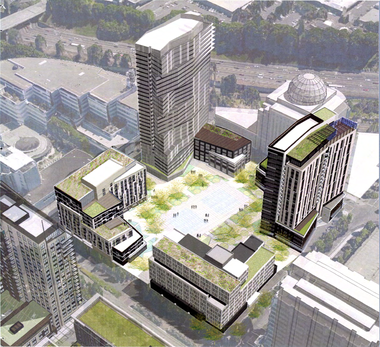 An early design of American Assets Trust's proposed mixed-use Oregon Square development, which would bring 1,030 housing units to Portland's Lloyd District.