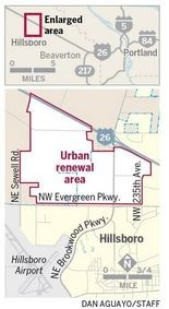 The portion outlined in red shows the 1,090-acre urban renewal area that the city of Hillsboro is planning to upgrade with roads, sewer, water and other infrastructure in an effort to attract high-tech industry.