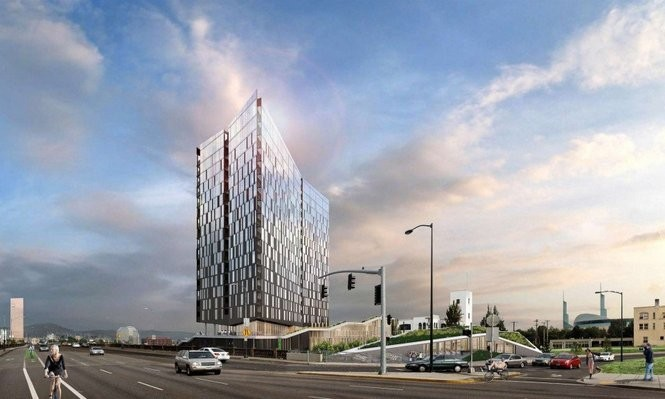 Renderings of the Yard project showed that near the top of the building, the exterior would be nearly all glass windows.
