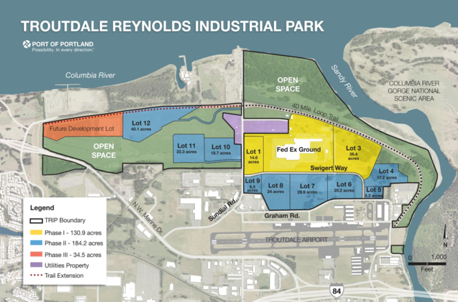 The Troutdale Reynolds Industrial Park is a 700-acre former brownfield site located between the Columbia and Sandy Rivers. The Amazon fulfillment center is slated to occupy lots 6, 7 and 8.