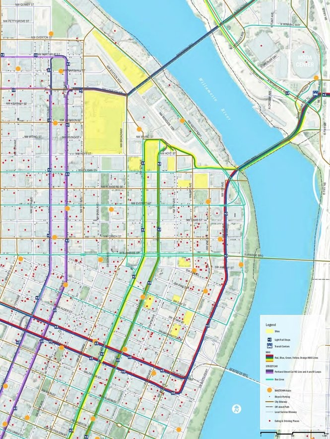 This map, from a draft proposal, shows the sites Portland has selected for Amazon's second headquarters, should it decide to locate here. The blocks are marked in yellow.