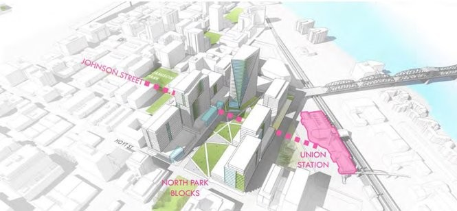 This rendering shows the northernmost part of the proposed Amazon campus, at the site of the U.S. Post Office near the western head of the Broadway Bridge.
