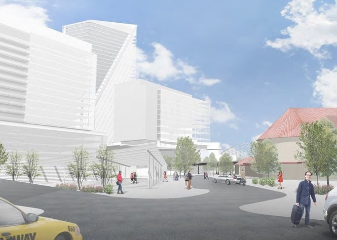 This rendering, from a draft proposal, illustrates Portland's plan for Amazon's second headquarters. Union Station and the Fremont Bridge are visible on the right.