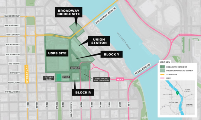 This map shows the blocks that compose the Broadway Corridor.
