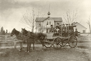 West Oregon City transportation for Sunset Schools pupils, circa 1904-1905.