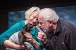 "Peaches, played by Brutus, is the center of a romance between Carol, play by Lexy Dillon, and Ralph, played by Jim Bumgardner, is the Sandy Actors Theatre production of ""The Last Romance."""