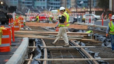 TriMet estimates that Portland-Milwaukie light rail construction is 35 percent complete.