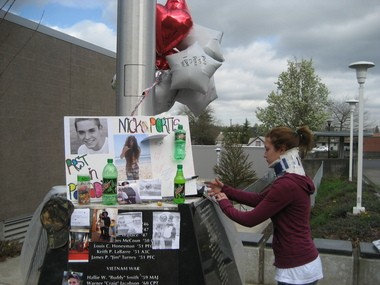 Cheyann Yates, 17, of Molalla, helped make a memorial for Nick Portis, who died after a car crash Saturday near Estacada. Yates said Portis and five of her other friends were partying on a mountain. Speed and alcohol were factors in the car crash, which injured six of the teens and killed Portis.
