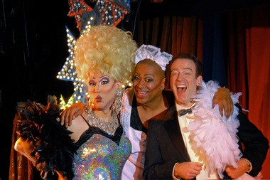 """Joe Thiessen (from left), Kevin Cook and Leif Norby in the Lakewood Theatre Company's production of """"La Cage aux Folles"""" at the Lakewood Center for the Arts."""
