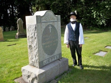Tim Drake portrays local pioneer Adolf Jette during last year's Cemetery Sage at the Champoeg State Heritage Area.