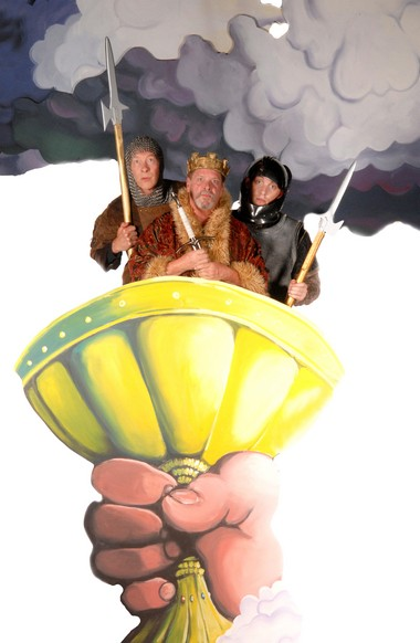 """Burl Ross (from left), Jay Pevney and Ben Farmer in Monty Python's """"Spamalot"""" at Lakewood Theatre Company."""